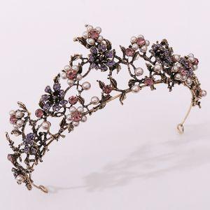 Tiaras y coronas de flores para la boda Perlas Accesorios para el cabello diadema nupcial del casco de la joyería para la fiesta de cumpleaños de Quinceanera barato 2020