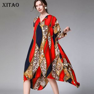 XITAO Tide Plus Size Print Dress Women Clothes 2020 Fashion New V Neck Full Sleeve Cover Belly Elegant Dress Casual DMY2936