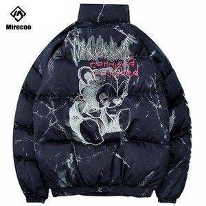 Hipster Winter Down Jacket Men Cartoon Bear Print Parka Men Coat Harajuku Streetwear Windbreaker Winter Coat Clothes