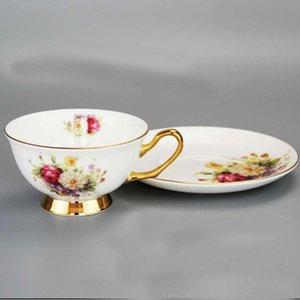 200ml 6 Inch Pintura da flor dourada cerâmica Copo e pires Set Tea caneca do favor Beber presente para o casamento DEC343