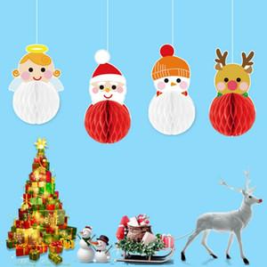 Accueil Décorations 4 PCS papier de soie de Noël en nid d'abeille Boules fleurs suspendus décoratifs de Noël Party Favor