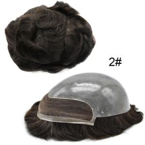 Aohai Toupee French Lace Front Human Hair System System 10x8 PU PU PU PU Sostituzione dei capelli PU Sostituzione candeggiata Cancella Poly Parrucca Poly Parrucca per gli uomini