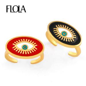 FLOLA Gold сглаз Манжета Кольцо для женщин Resizable Эмали Турецкого глаза кольцо Регулируемых женщины ювелирных изделий Olho Grego esmaltado rigj18