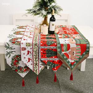 New Christmas Table Flags Merry Christmas Table Cover Decoration Home Xmas Table Mat Xmas Tree Santa Claus Elk Tablecloth BH4032 DBC