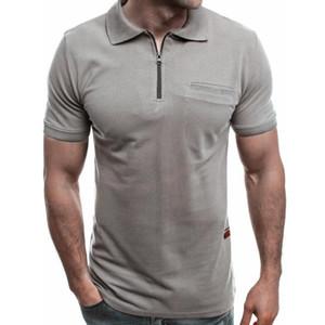 Men Polo Shirts Summer Men Casual Short Sleeve Polos Shirts Fashion Mens Slim Zipper Tops Tees Male Clothing