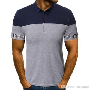 Tees Casual Mens Business Tops Panelled Striped Print Lapel Neck Mens Polos Summer Short Sleeve Slim Mens