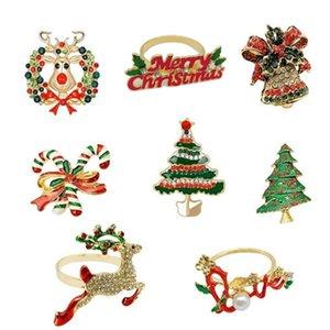 Рождественские кольца для салфеток - Набор из 8 салфеток Holder Кольца для отдыха Рождественских украшений таблицы Elk пряжки