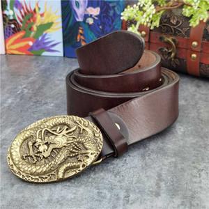 Solid Brass Chinese Belt Buckle Luxury Men's Leather Belt Ceinture Western Cowboy Jeans 130CM Long Male Wide MBT0058