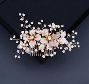 Wedding Bridal Flower Hair Comb Floral Flower Headpiece Crystal Rhinestone Hair Accessories Prom Fashion Headdress Headwear Jewelry Gold
