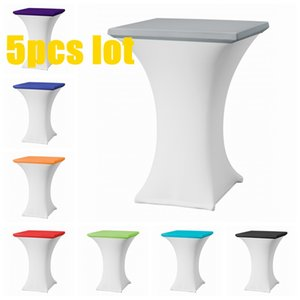 Wholesale Price Square Stretch Tablecloth Cocktail Table Cover Spandex Bar Table Cloth Hotel Wedding Party Cover Decor