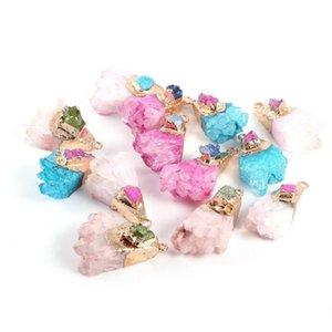 Natural de cristal de cuarzo colgante irregulares druzy Agates encantos de DIY hecho a mano para la fabricación de la joyería pendiente del collar Accesorios 1Pcs