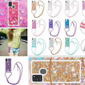 Strap Lanyard Necklace Liquid Case For Samsung NOTE 20 Ultra A21 A51 A71 5G A31 A21S A11 A41 A01 A21 Shockproof Soft TPU Bling Phone Cover