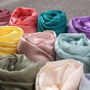 2020 Женщины моды Plain Pearl Silk льняной платок шарф лето Sheer Тонкие мягкие мусульманская оголовье Kerchief Wrap Хиджаб Echarpe Snood