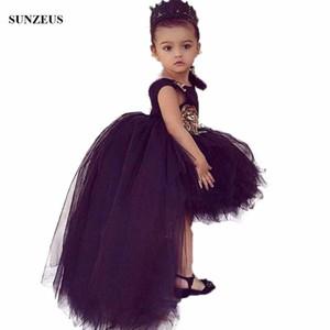 Schwarzes Blumen-Mädchen-Kleid kurze vordere lange zurück Tulle-Partei-Kleider Für Kinder High Low Puffy Kindergeburtstagskleid FLG006