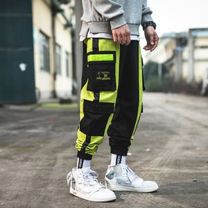 New Spring Tooling Pantalons vent hommes Contrast Mode couleur Brochage Hip Hop en vrac Casual Pantalons homme Streetwear Salopette tendance