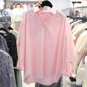 N3Xd8 0pFN4 color women's long-sleeved women's clothing 2019 autumn and spring new Korean shirt style loose all-match pink shirt clothes Soli