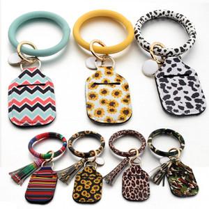 30ml Perfume Alcohol Bottle Case Leather Keyring Bracelet With Tassel Womens O Key Ring Custom Wristlet Bracelet Circle Bangle Keychain