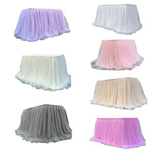 Colorful Tablecloth Tulle Dessert Reception Table Skirt Decoration for Wedding Party Home Birthday