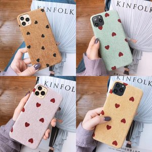 Cloth Texture Love Heart Wave Point Phone Case For iPhone 11 Pro Max 6s 7 8 Plus X XS XR Xs Max Warm