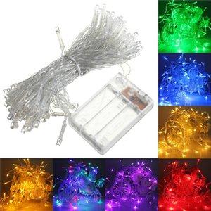 Batería 10piece / lot 10m 80LED 3xAA cuerda a prueba de agua portátil que funcione Hada Luz de Navidad Año Nuevo luces de la decoración de la boda