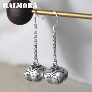 Balmora Orijinal% 100 Gerçek 990 gümüş küpe İçin Kadınlar Good Luck Küpe Vintage Dangle Bırak Küpe Takı Hediyeler