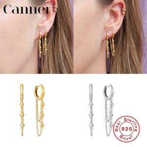 Canner 925 cuelga de largo los pendientes de perlas deslumbrantes pequeña cadena pendientes de Huggie pendientes para las mujeres joyería fina W5