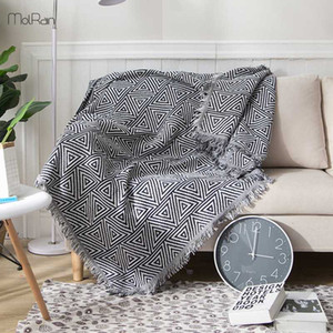 230x340cm Geometric Weighted Blanket Knitted Throw Blankets for Beds Tassels Modern Design Boho Cotton Blanket Sofa Cover