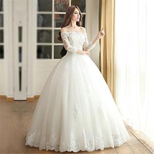 Дешевые Off наплечного Boat Neck 3/4 рукава зашнуровать Vintage Bridals Gowns Плюс Размер на заказ шнурка мантии шарика Платья венчания