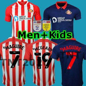 2020 2021 Sunderland Futbol Formalar ANA KIRMIZI WHTER Honeyman 20 21 WEMBLEY MAJA GOOCH Maguire Erkekler + çocuklar uzakta mavi formalarını set kit