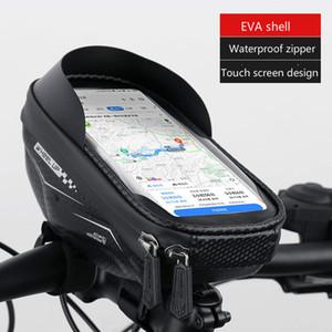 Bicycle Handlebar Bag Hard Shell Screen Touch Mobile Phone Holder Bag Waterproof Mountain Bike Front Black Bag Package Cycling Phone Mounts
