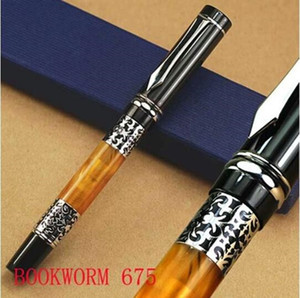 Hot sell-BOOKWORM 675 silver flower amber celluloid fountain pen stationery writing ink pen