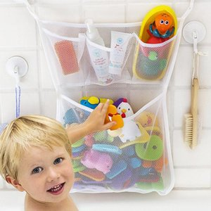 Baby mesh basket kids baby bath tub toy storage net folding hanging bag organiser for bathroom tub storage bag
