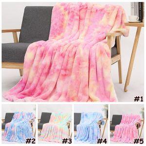 Tie-dye Flanelle couvertures chaudes Sherpa Blanket Enfants Adultes Place Quilt en peluche Double Couch Couvertures d'hiver Épaississement CCA12536 5pcs