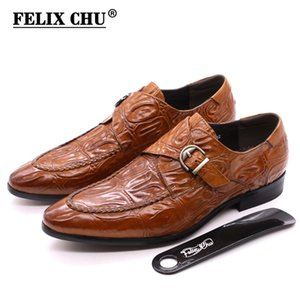 2020 Nordic Style Mens Dress Shoes Genuine Leather Monk Strap Business Formal Shoes Crocodile Print Fashion Stylist Men