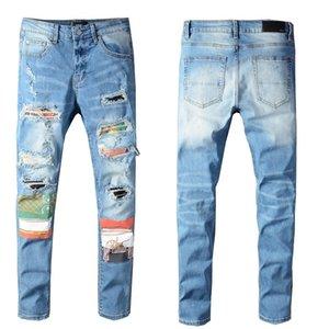 20 ss heißer verkaufen mens designer jeans distressed zerrissenen biker slim fit motorrad biker denim für männer m mode mans schwarze hosen
