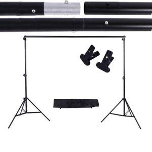 2 * 3 m / 6,6 * 9.8ft Einstellbare Hintergrund Support Stand Foto Kulisse Crossbar-Kit mit zwei Schellen Fotografie Zubehör-Set