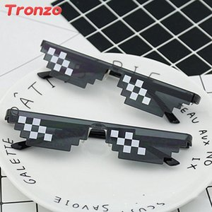 Tronzo Fancy Sunglasses Photo booth Party Supplies Funny Unisex Sunglasses Mosaic Pixels Men Thug For Birthday Party