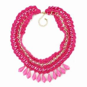 Gioielli simulato collana di perle stringa intrecciato catena dell'oro di nuovo arrivo Pendant Choker Statement per le donne
