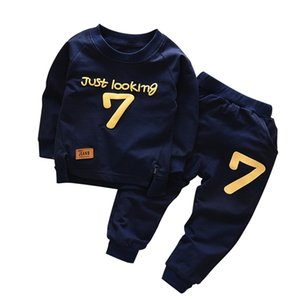 Spring Autumn Children Boys Girsls Clothing Cotton Long Sleeve Letter Sets Kids Clothes Tracksuit Baby T-Shirt Pants 2 Pcs Suit 0927