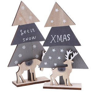 Christmas Tree Elk Stitching Desktop Arrangements Wooden Mini Tree Ornaments Home Xmas Party Holiday Decoration Props