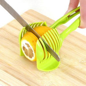1pc fruits en plastique vert Manuel trancheuse de tomate Slicer Cutter tomate citron Cutter adjoint Porte cuisson outil de cuisine