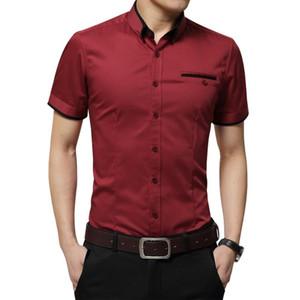 Mens Новое прибытие лета бизнеса рубашка с коротким рукавом Turn Down Воротник Tuxedo Рубашка мужская Рубашки Плюс Размер