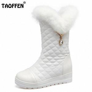 TAOFFEN Tamanho 30 42 Shoes Moda Inverno Mulheres Grosso Fur Plush Dentro Mid Calf neve Botas For Women Thick plaform Cunhas Botas Djfl #