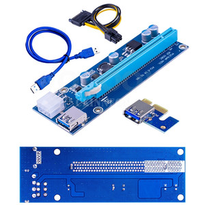 100Pcs Lot PCI-E Riser Card PCIE for Mining 1x to 16x Adapter 60cm USB 3.0 Cable 6Pin Power Supply BTC LTC Miner Machine