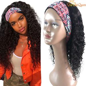 Baş bandı Peruk Su Dalga İnsan Saç Peruk% 150 yoğunluk Saç Bandı yok Yapıştırıcı Gerçek Satine Remy Peru Saç Peruk