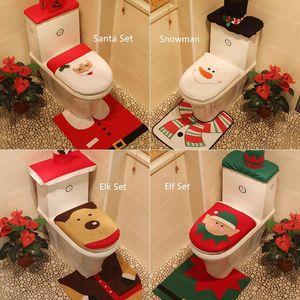 مل 3pcs بابا نويل مجموعة مقعد المرحاض تغطية عيد الميلاد زينة عيد الميلاد WC عن الفنادق الرئيسية زخرفة عيد الميلاد الحمام هدايا الأغطية