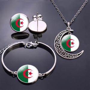 Bandeira de Argélia Conjunto de jóias da bandeira de Argélia vidro Cabochon Stud brincos / pulseira / colar Set