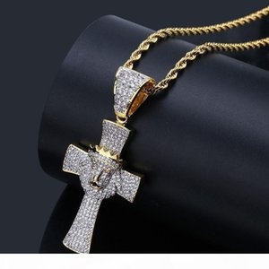New Fashion Hiphop Lion Head Pendant Necklaces For Men Top Quality 18K Gold Plated Hip Hop Jewelry Luxury Ice Out Crow Necklace Wholesale