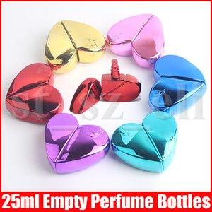 25 ml del corazón en forma de botella del aerosol de perfume de cristal de la bomba sin aire Mujer Parfum del atomizador del recorrido botella vacía contenedores de estética