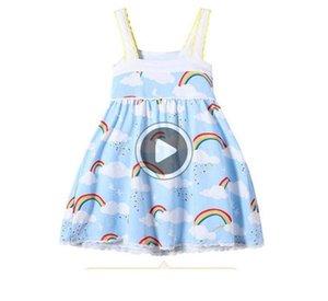 Девушки Радуга жилет платье небо облако Printed La Ee Den Suspender Юбка Мягкая дышащая Прохладный Хлопок Ткань сарафаны B11